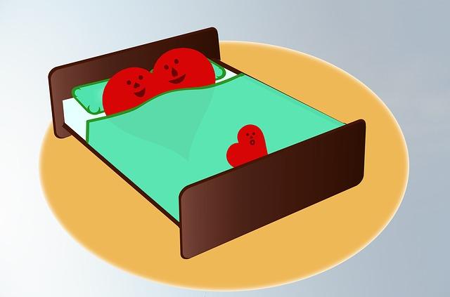 Ilustrované, srdce v posteli, láska